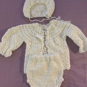 Hand Crocheted Baby Sweater/Diaper Cover/Bonnet